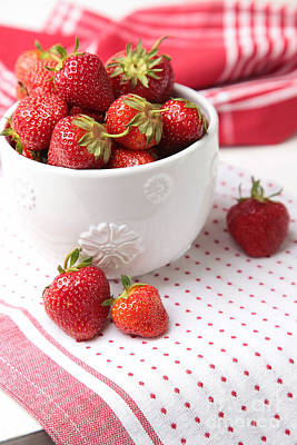 Photograph - Fresh Ripe Strawberries In Bowl by Sandra Cunningham