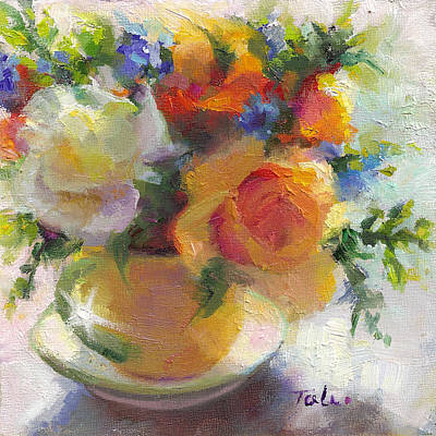 Painted Ladies Painting - Fresh - Roses In Teacup by Talya Johnson