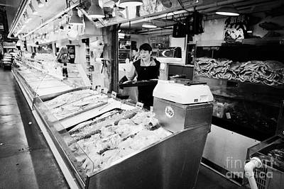 Granville Island Photograph - fresh shellfish and seafood counters inside granville island public market Vancouver BC Canada by Joe Fox
