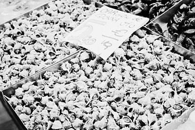 fresh shellfish for sale inside the la boqueria market in Barcelona Catalonia Spain Art Print by Joe Fox