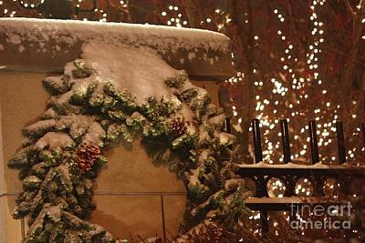 Christmas Holiday Scenery Photograph - Fresh Snow At Night by Veronica Batterson