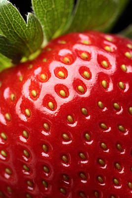 Close-up Photograph - Fresh Strawberry Close-up by Johan Swanepoel