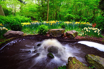 Curated Beach Towels - Fresh Stream. Keukenhof Botanical Garden. Netherlands by Jenny Rainbow