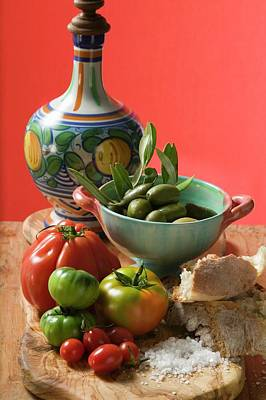 Fresh Tomatoes, Olives, Bread, Salt And Ceramic Jug Art Print