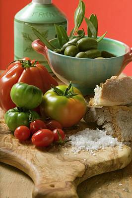 Fresh Tomatoes, Olives, Bread, Salt And Olive Oil Art Print
