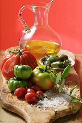Fresh Tomatoes, Olives, Salt And Olive Oil Art Print