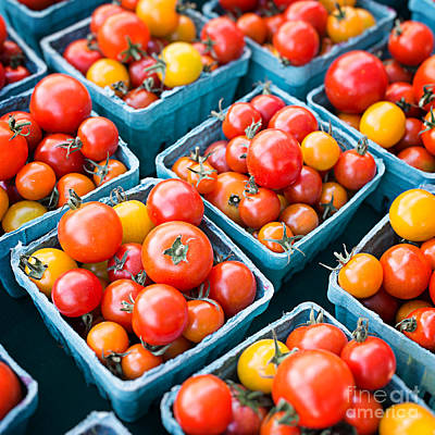 Farmers Market Photograph - Fresh Tomatoes Square Format by Edward Fielding