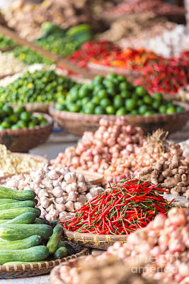 Vietnam Photograph - Fresh Vegetables For Sale At Local Asian Market by Matteo Colombo