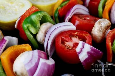 Fresh Veggie Kabobs On The Grill Art Print