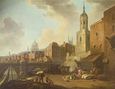 St Pauls Cathedral Photograph - Fresh Wharf Near London Bridge, C.1762 Oil On Canvas by William Marlow