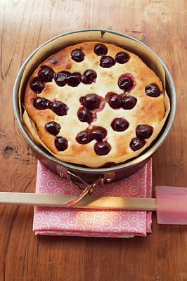 Freshly-baked Cherry Cake In Baking Tin Art Print