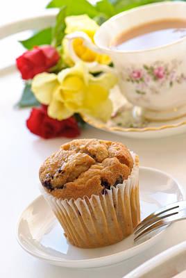 Freshly Baked Muffin With Tea Art Print by Amanda Elwell