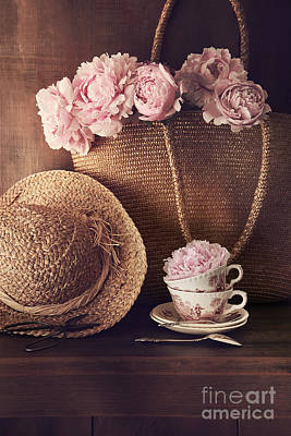 Photograph - Freshly Cut Peonies With Wicker Hat And Bag by Sandra Cunningham