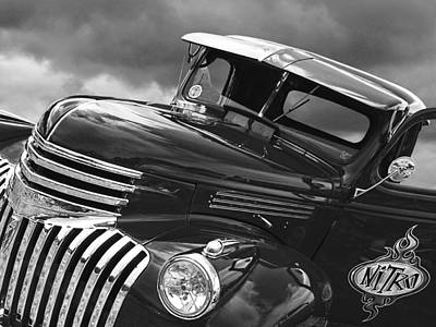 Chevy Truck Photograph - Freshly Squeezed - 1945 Chevy In Black And White by Gill Billington