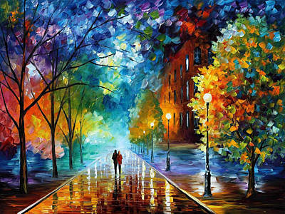 Freshness Of Cold - Palette Knife Landscape Oil Painting On Canvas By Leonid Afremov Original by Leonid Afremov