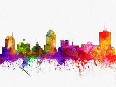 Fresno Digital Art - Fresno California Skyline 02 by Aged Pixel