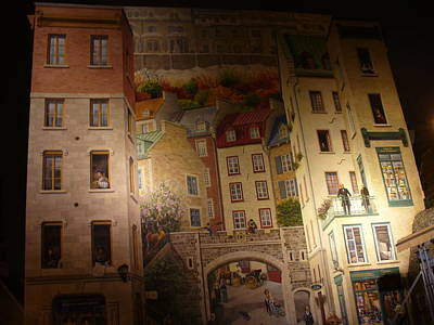 Fresque Des Quebecois At Night Art Print by Lingfai Leung