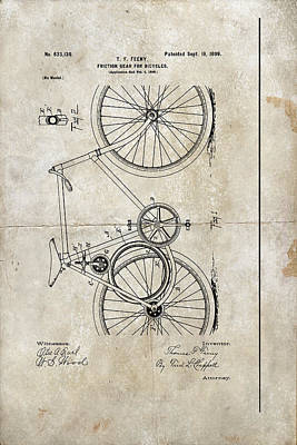 Digital Art - Friction Gear For Bicycles Patent 1899 by Paulette B Wright