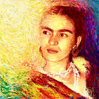 Socialist Mixed Media - Frida In Color Of Joy by Shubnum Gill