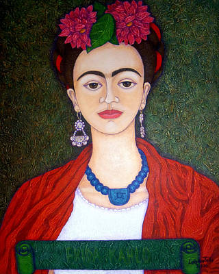 Frida Kahko Portrait With Dahlias Art Print by Madalena Lobao-Tello