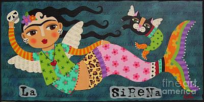 Of Mermaids Painting - Frida Kahlo Angel Mermaid With Skull And Black Cat by LuLu Mypinkturtle