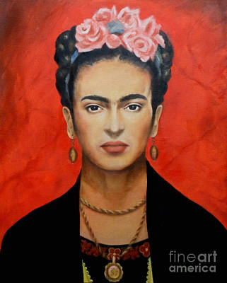 Red Flowers Painting - Frida Kahlo by Elena Day