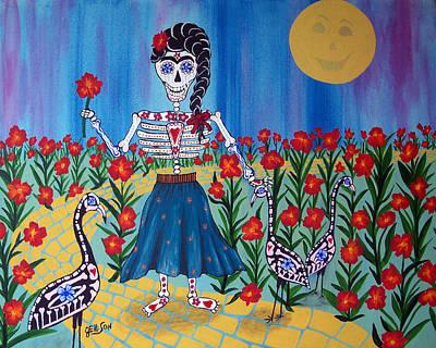 Skelly Painting - Frida Kahlo In The Flamingo Garden by Julie Ellison