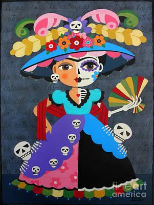 Kahlo Painting - Frida Kahlo La Catrina by LuLu Mypinkturtle