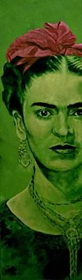 Frida Kahlo - Red Bow Art Print by Richard Tito