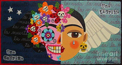 Frida Painting - Frida Kahlo Sugar Skull Angel by LuLu Mypinkturtle
