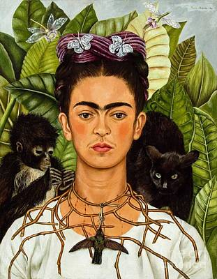 Frida Kahlo - Thorn Necklace And Hummingbird Art Print