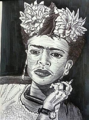 Frida Drawing - Frida Kahlo by Tiffany Porcu