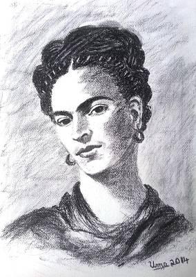 Frida Drawing - Frida Kahlo by Uma Krishnamoorthy