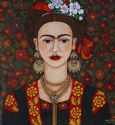 Self Portrait Mixed Media - Frida Kahlo With Butterflies by Madalena Lobao-Tello