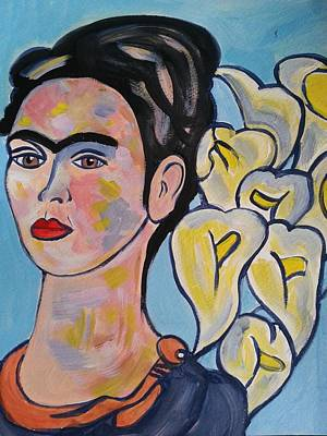 Frida Kahlo With Calla Lilies Art Print by Nikki Dalton