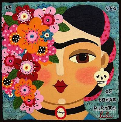 Folk Painting - Frida Kahlo With Flowers And Skull by LuLu Mypinkturtle