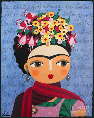 Folk Art Painting - Frida Kahlo With Fuschias And Lantanas by LuLu Mypinkturtle