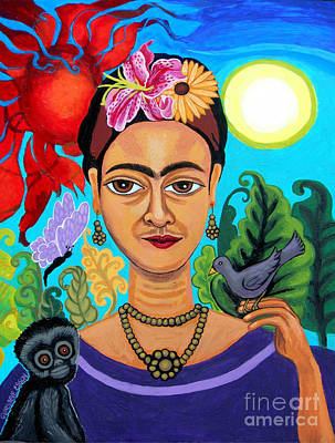 Folkart Painting - Frida Kahlo With Monkey And Bird by Genevieve Esson