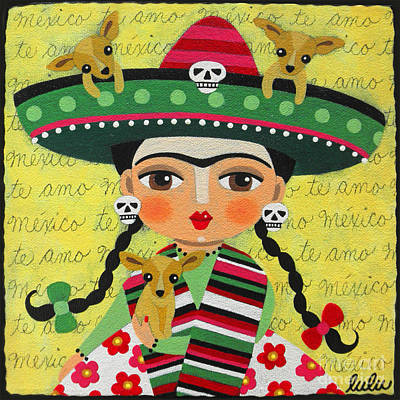 Folk Painting - Frida Kahlo With Sombrero And Chihuahuas by LuLu Mypinkturtle