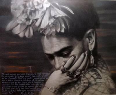 Frida Drawing - Frida Kalho by Noe  Garay