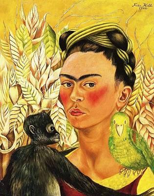 Frida Self Portrait With Chango And Loro Art Print