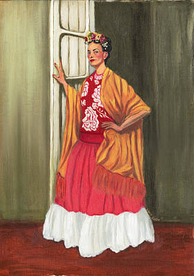 Painting - Frida Standing In A Doorway by Lucy Chen