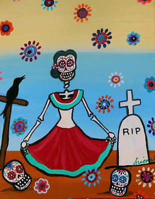 Painting - Frida Visiting The Grave by Pristine Cartera Turkus