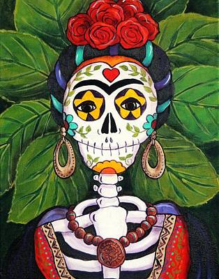 Calavera Painting - Frida With Roses by Candy Mayer