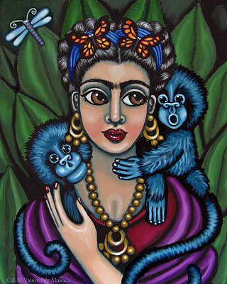 Chimpanzee Painting - Frida's Monkeys by Victoria De Almeida