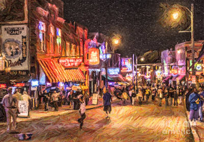 Memphis Digital Art - Friday Night On Beale by Liz Leyden