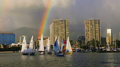 Ala Moana Photograph - Friday Night Sailboat Race, Ala Wai by Douglas Peebles