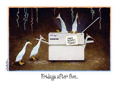 Ducks Painting - Fridays After Five... by Will Bullas