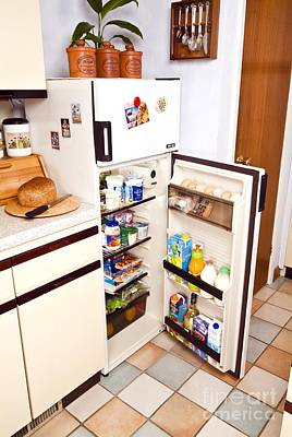 Margarine Photograph - Fridge With Open Door by Martyn F. Chillmaid