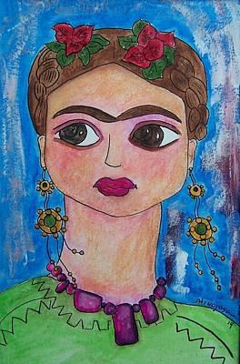 Frida Drawing - Friduchita Wearing My Beads by Raquel Hinojosa